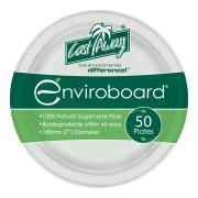 Castaway Enviroboard Round Side Paper Plates 180X180X17mm White Pack 50