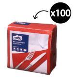 Tork Lunch Napkin Edge Emboss 2 Ply Quarterfold 310X310mm Red Pack 100