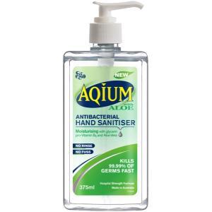 Aqium Hand Sanitiser Aloe Pump 375ml