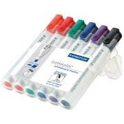 Staedtler Lumocolor Whiteboard Marker Chisel Tip Assorted Colours Wallet 6