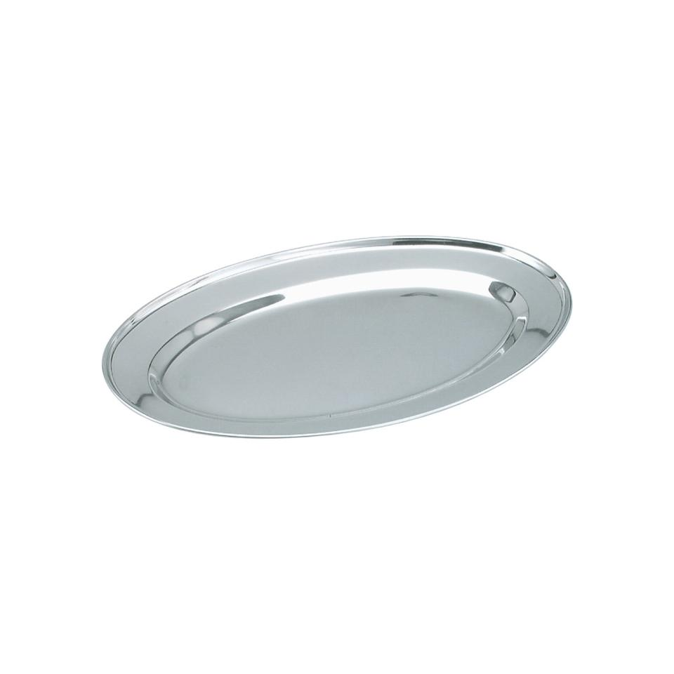 Chef Inox Stainless Steel Oval Rolled Edge Platter 400mm Box 12