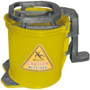 Cleera Mop Bucket Heavy Duty Plastic Foot Pedal Wringer On Wheels 15 Litre Yellow