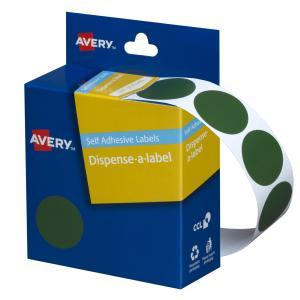 Avery Green Circle Dispenser Labels - 24mm diameter - 500 Labels