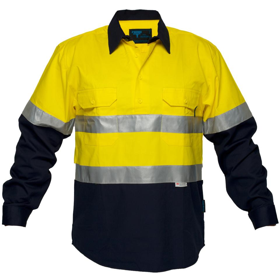 Prime Mover WWNC1001AC 100% Cotton HiVis Closed Front Drill Shirt w/Tape Long Sleeve
