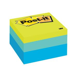 post it cube blue wave sticky notes staples now winc