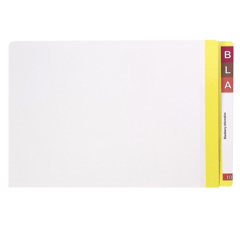 Avery Lateral Shelf File 367 x 242m 35mm Expansion Foolscap White with Yellow Side Tab Pack 100