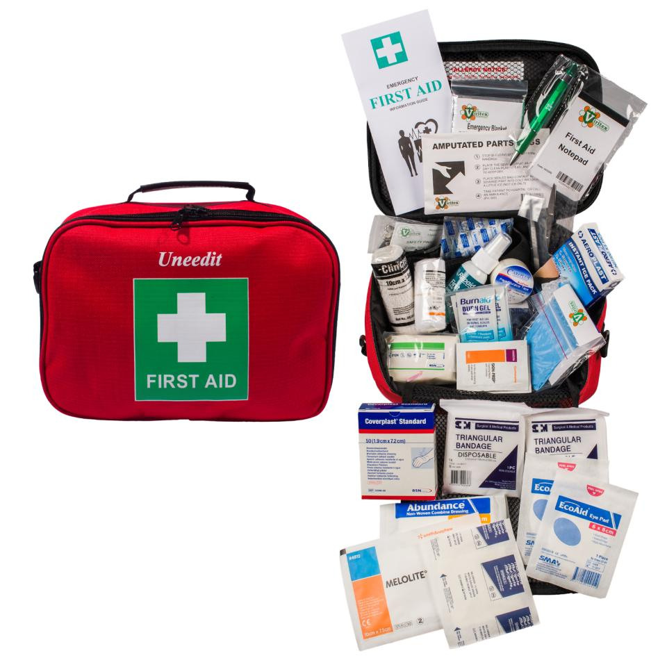 Uneedit Supplies First Aid Kit Portable Small Workplace In Soft Case Suits 1-10 Employees Each