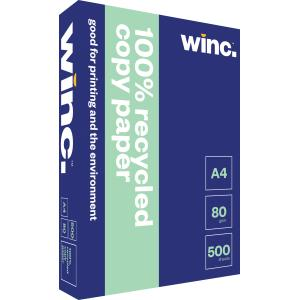 Winc Copy Paper 100% Recycled 80gsm A4 White Box 5 Reams