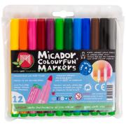 Micador Colourfun Coloured Markers Assorted Pack 12