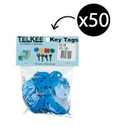 Telkee Key Tags Round Numbered 1-50 Blue Pack 50