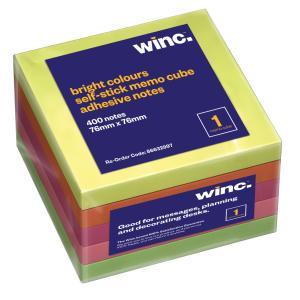 Winc Self-Stick Removable Memo Cube 76X76mm Brilliant Colours 400 Sheets Pack