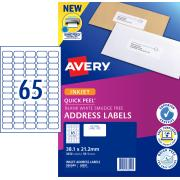 Avery Address Labels with Quick Peel for Inkjet Printers - 38.1 x 21.2mm - 3250 Labels (J8651)