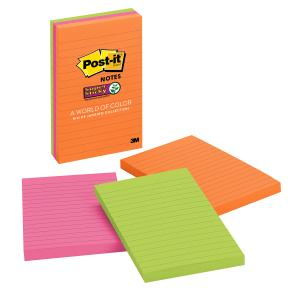 Post-it 660-3SSUC Super Sticky Rio de Janeiro Lined Notes 101 x 152mm 3 Pads