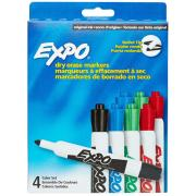 Expo Dry Erase Markers Bullet Tip Assorted Colours Pack 4