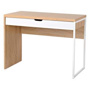 Staples Mada Single Drawer Desk Light OakWhite Staples