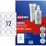 Avery Crystal Clear Round Labels for Laser Printers - 60mm diameter - 120 Labels (L7114)