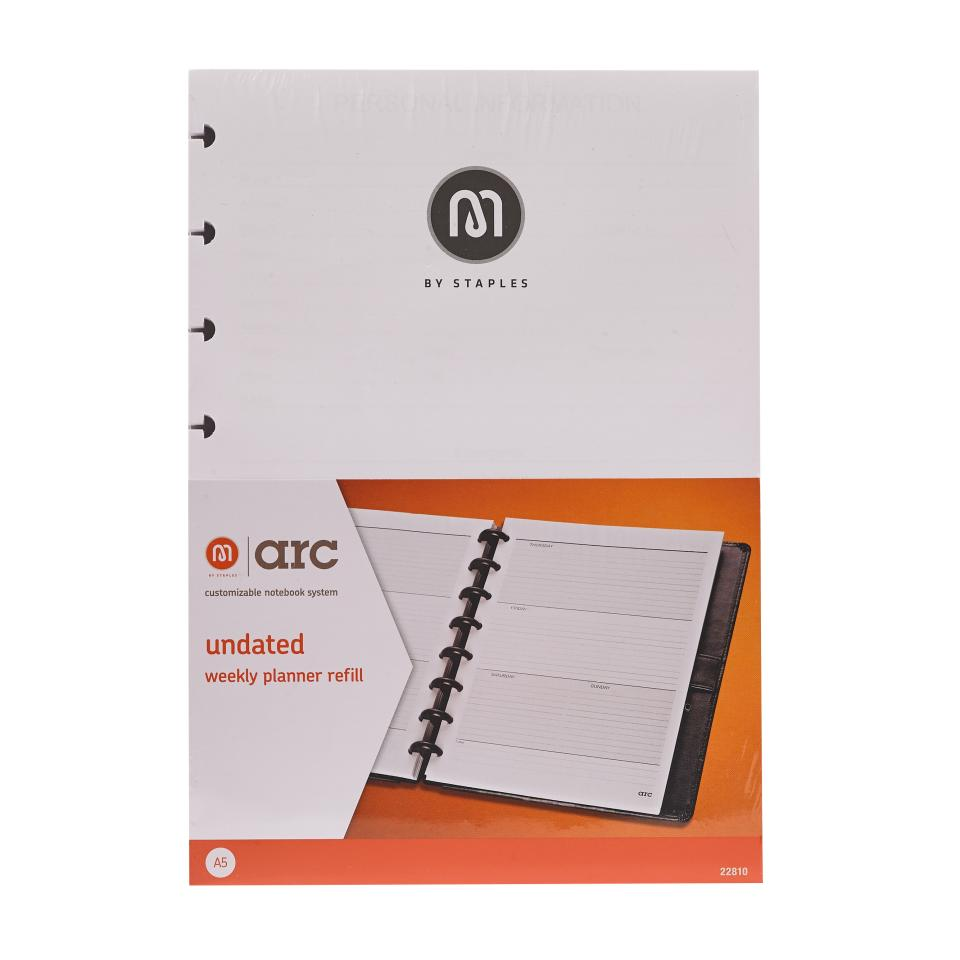 M By Staples ARC Weekly Undated Diary Planner Refill A5