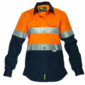 AAPB LWS1008A Ladies Cotton Drill Regular Weight Long Sleeve Shirt With Tape
