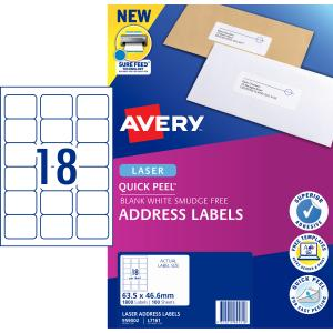 Avery Address Labels with Quick Peel for Laser Printers - 63.5 x 46.6mm - 1800 Labels (L7161)