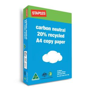 Staples Carbon Neutral 20% Recycled A4 Copy Paper 80gsm White Box 5 Reams