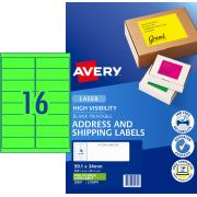 Avery Fluoro Green Shipping Labels for Laser Printers - 99.1 x 34mm - 400 Labels ( L7162FG)