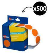 Avery Orange Circle Dispenser Labels 24mm diameter 500 Labels