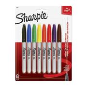 Sharpie Fine Permanent Marker Assorted Colours Pkt 8