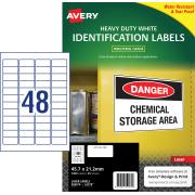 Avery White Heavy Duty Labels for Laser Printers - 45.7 x 21.2mm - 1200 Labels (L4778 )