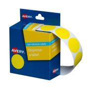Avery Circle Dispenser Labels 24mm Diameter Yellow 500 Labels