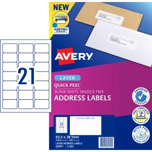 Avery Quick Peel Address Labels with Sure Feed  Laser Print 63.5 x 38.1 mm 2100 Labels 959001 L7160
