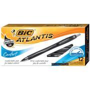 Bic Atlantis Comfort Retractable Pen Medium Black Box 12