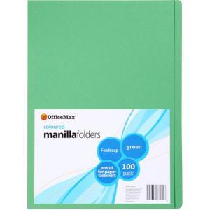 Officemax Manilla Folder Foolscap Green Box Of 100
