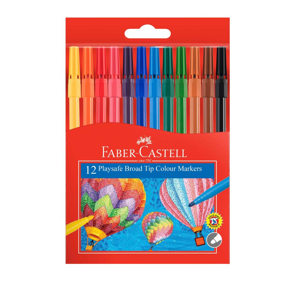 Faber-Castell Playsafe Broad Coloured Markers Assorted Pack 12