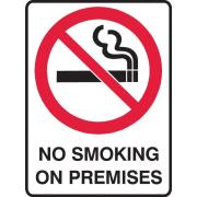 Brady 840565 Self Adhesive Sign No Smoking On Premises Vinyl 125X90mm Pack Of 5