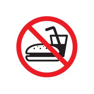 Apli No Eating Sign Red White & Black PVC Self-Adhesive