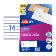 Avery Quick Peel Address Labels with Sure Feed  Laser Print 99.1 x 38.1 mm 1400 Labels 959004 L7163