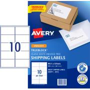Avery Shipping Labels with TrueBlock for Inkjet Printers - 99.1 x 57mm - 500 Labels (J8173)