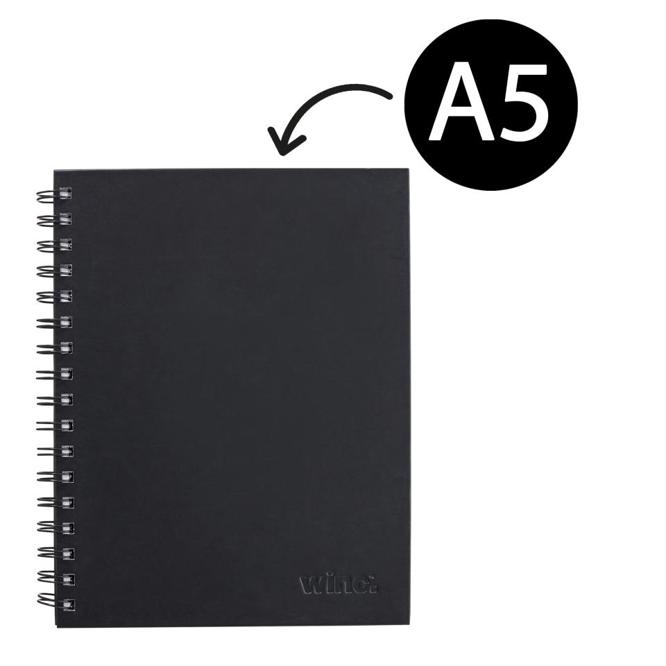 Winc Hardcover Spiral Notebook Ruled 225 x 175mm A5 200 Pages Black