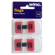 Winc Flags Sign Here 25 x 43mm Red Pack 100
