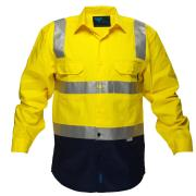Prime Mover WW1001 100% Cotton High Visibility Drill Shirt With Reflective Tape and Long Sleeves