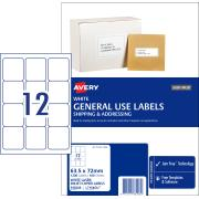 Avery General Use Labels - 63.5 x 72mm - 1200 Labels ( L7164GU)