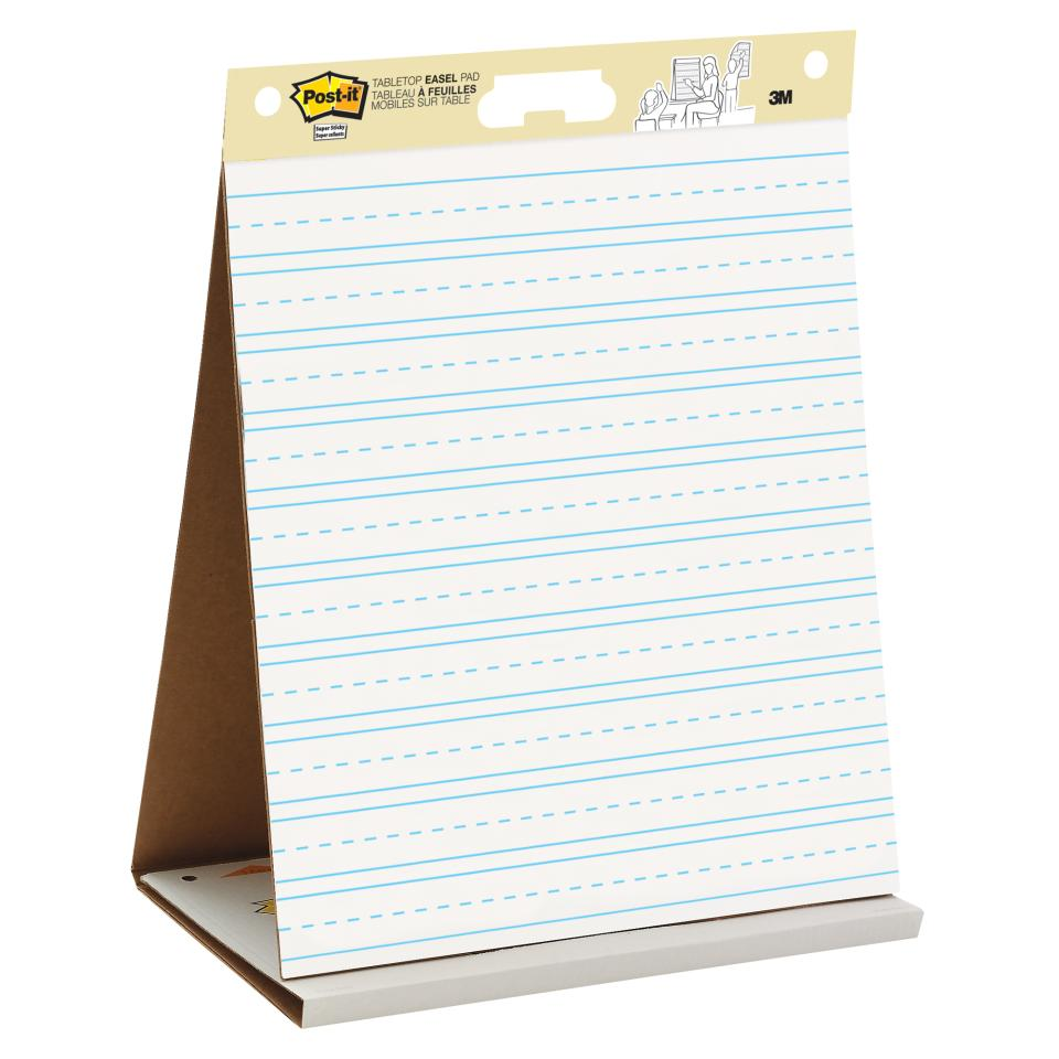 Post-It Super Sticky Easel Pad Portable Table Top White Lined 508 x 584mm 20 Sheets