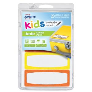 Avery Kids Writeable Labels Yellow & Orange 20 Labels/pack