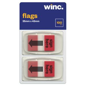 Winc Flags 25 x 43mm Sign Here Red Pack 100