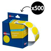 Avery Yellow Circle Dispenser Labels 24mm diameter 500 Labels