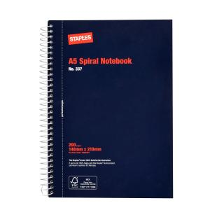 Staples Spiral Notebook A5 No.337 Gusseted Pockets Perforated 200 Page