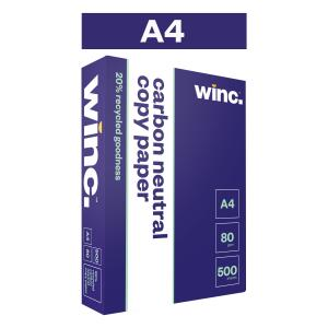 Winc Copy Paper Carbon Neutral 20% Recycled 80gsm A4 White Ream 500 Box 5