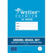Writer Premium A4 Exercise Book Ground/Grass/Sky 24mm Dotted Thirds 70GSM 64 Pages