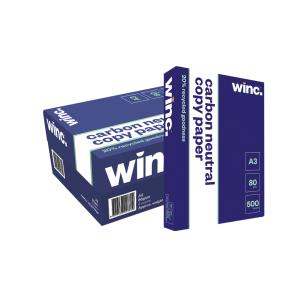 Winc Carbon Neutral 20% Recycled A3 Copy Paper 80gsm White Box 3 Reams