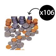 Educational Colours Plastic Australian Coins Bag Of 106 Assorted